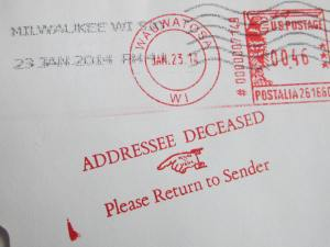 Self-designed stamp for the return of mail to sender.